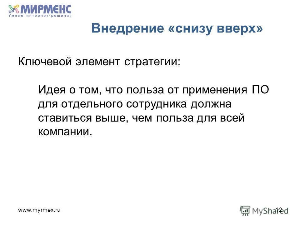 www.myrmex.ru12 Внедрение «снизу вверх» Ключевой элемент стратегии: Идея о том, что польза от применения ПО для отдельного сотрудника должна ставиться выше, чем польза для всей компании.