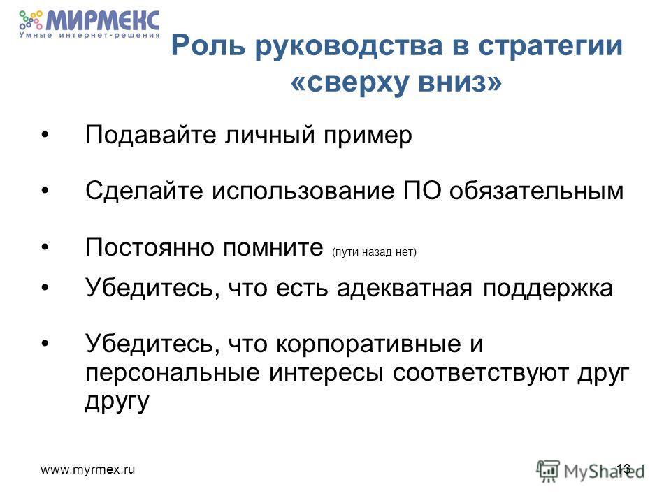 www.myrmex.ru13 Роль руководства в стратегии «сверху вниз» Подавайте личный пример Сделайте использование ПО обязательным Постоянно помните (пути назад нет) Убедитесь, что есть адекватная поддержка Убедитесь, что корпоративные и персональные интересы