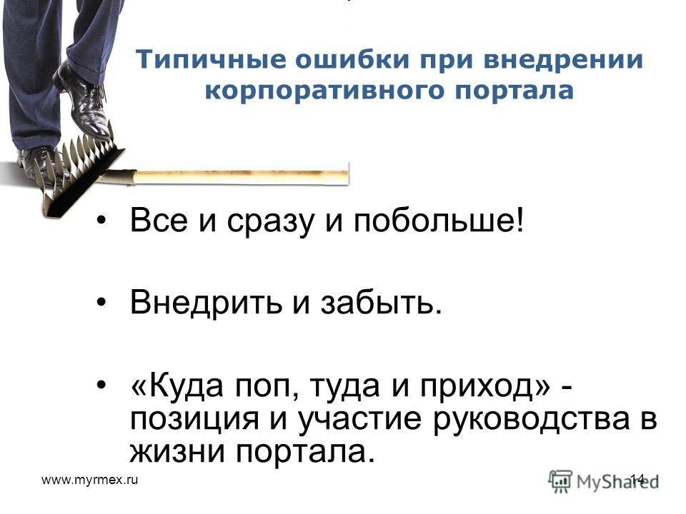 www.myrmex.ru14 Все и сразу и побольше! Внедрить и забыть. «Куда поп, туда и приход» - позиция и участие руководства в жизни портала. Типичные ошибки при внедрении корпоративного портала