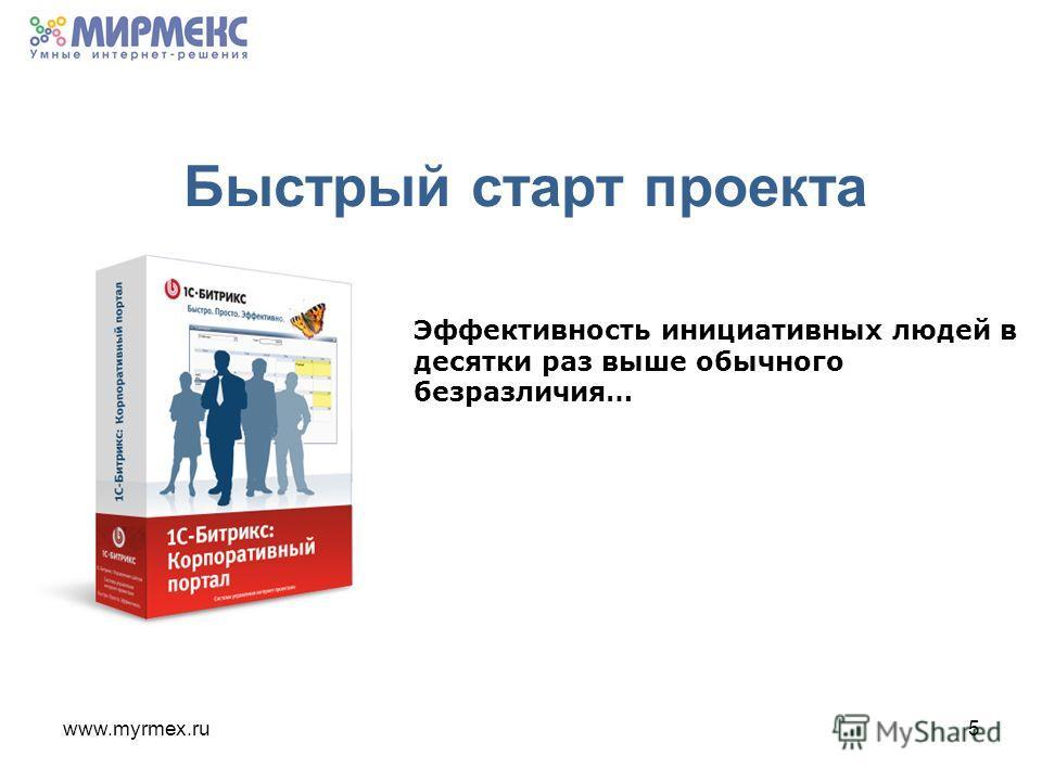 www.myrmex.ru5 Быстрый старт проекта Эффективность инициативных людей в десятки раз выше обычного безразличия…