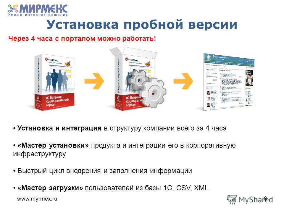 www.myrmex.ru8 Установка пробной версии Установка и интеграция в структуру компании всего за 4 часа «Мастер установки» продукта и интеграции его в корпоративную инфраструктуру Быстрый цикл внедрения и заполнения информации «Мастер загрузки» пользоват