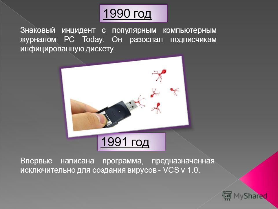 1990 год Знаковый инцидент с популярным компьютерным журналом PC Today. Он разослал подписчикам инфицированную дискету. 1991 год Впервые написана программа, предназначенная исключительно для создания вирусов - VCS v 1.0.