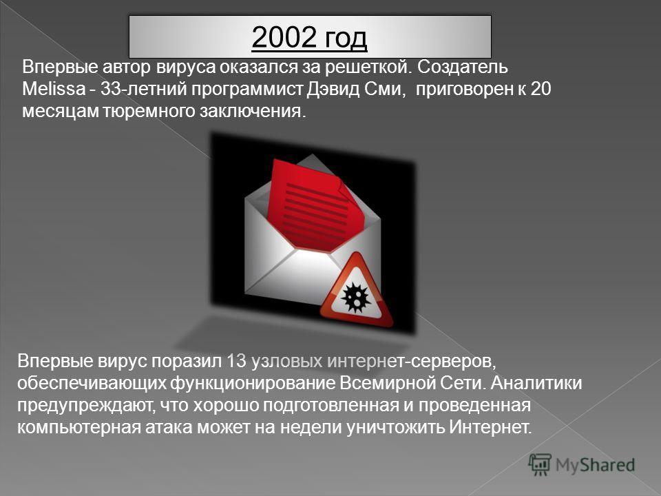 2002 год Впервые автор вируса оказался за решеткой. Создатель Melissa - 33-летний программист Дэвид Сми, приговорен к 20 месяцам тюремного заключения. Впервые вирус поразил 13 узловых интернет-серверов, обеспечивающих функционирование Всемирной Сети.