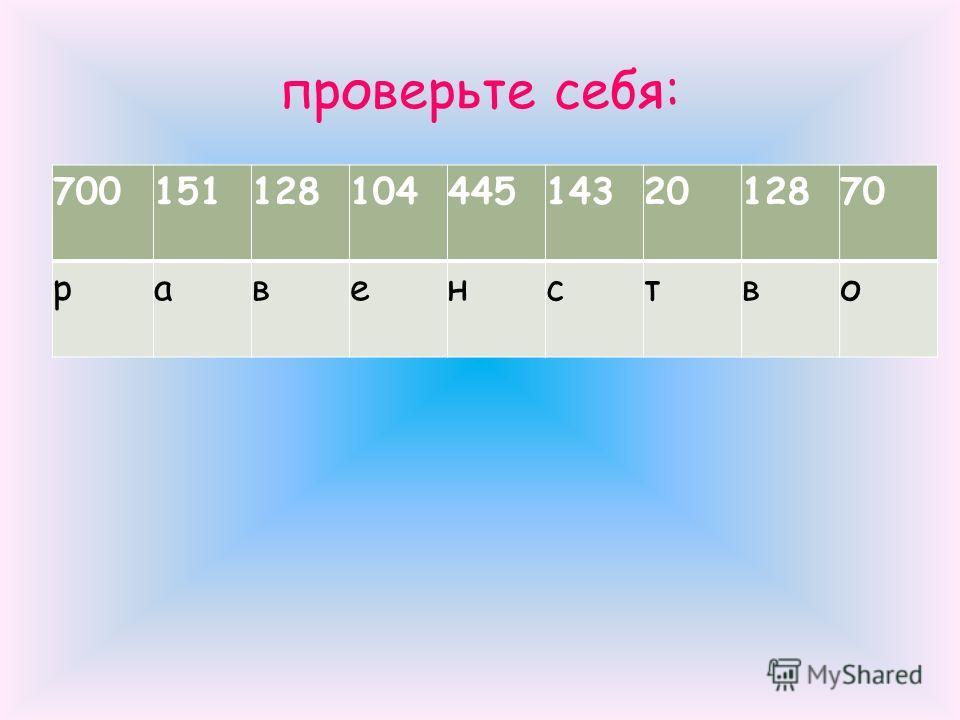 проверьте себя: 7001511281044451432012870 равенство
