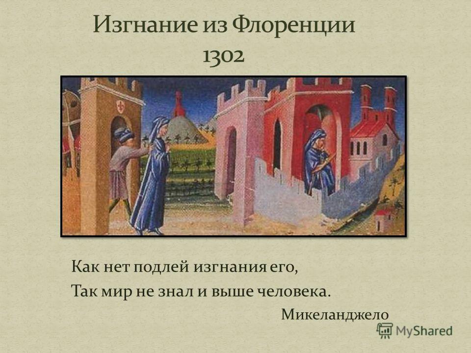 Как нет подлей изгнания его, Так мир не знал и выше человека. Микеланджело