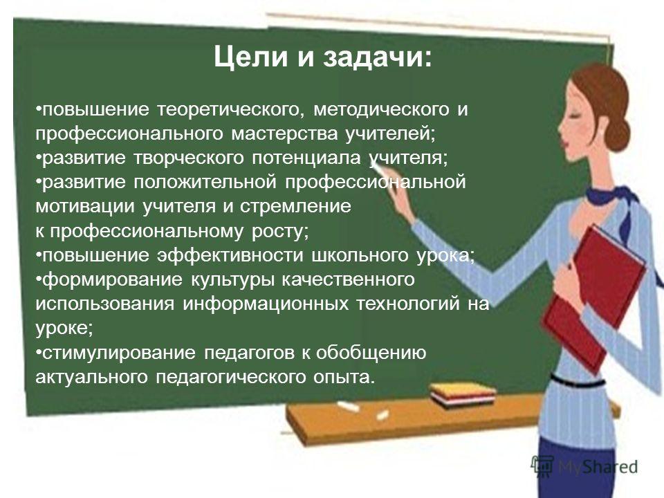Цели и задачи: повышение теоретического, методического и профессионального мастерства учителей; развитие творческого потенциала учителя; развитие положительной профессиональной мотивации учителя и стремление к профессиональному росту; повышение эффек