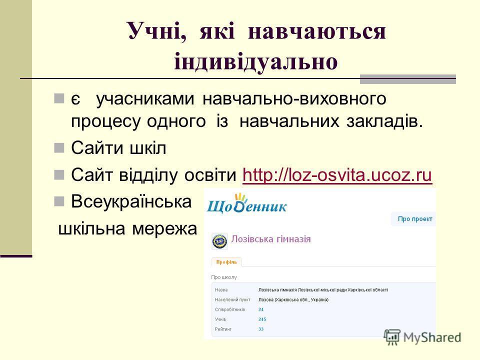 Учні, які навчаються індивідуально є учасниками навчально-виховного процесу одного із навчальних закладів. Сайти шкіл Сайт відділу освіти http://loz-osvita.ucoz.ruhttp://loz-osvita.ucoz.ru Всеукраїнська шкільна мережа