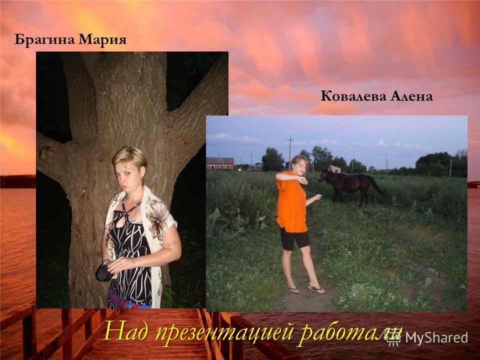Над презентацией работали Брагина Мария Ковалева Алена