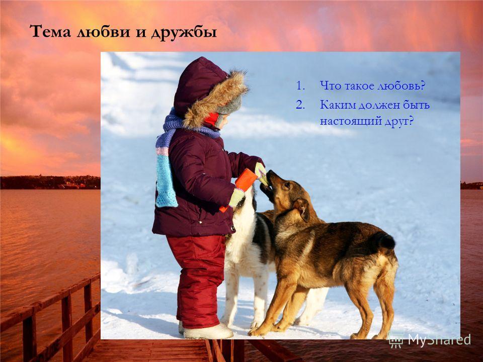Тема любви и дружбы 1.Что такое любовь? 2.Каким должен быть настоящий друг?