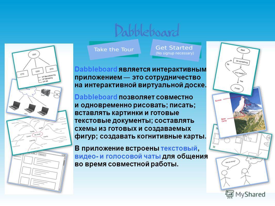 Dabbleboard является интерактивным приложением это сотрудничество на интерактивной виртуальной доске. Dabbleboard позволяет совместно и одновременно рисовать; писать; вставлять картинки и готовые текстовые документы; составлять схемы из готовых и соз