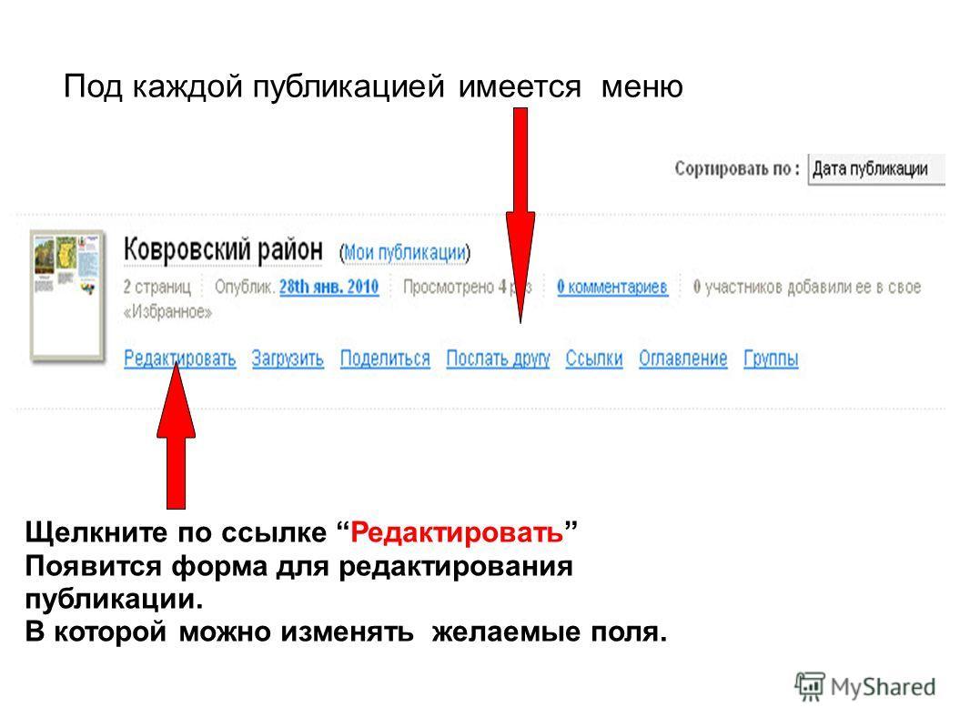 Под каждой публикацией имеется меню Щелкните по ссылке Редактировать Появится форма для редактирования публикации. В которой можно изменять желаемые поля.