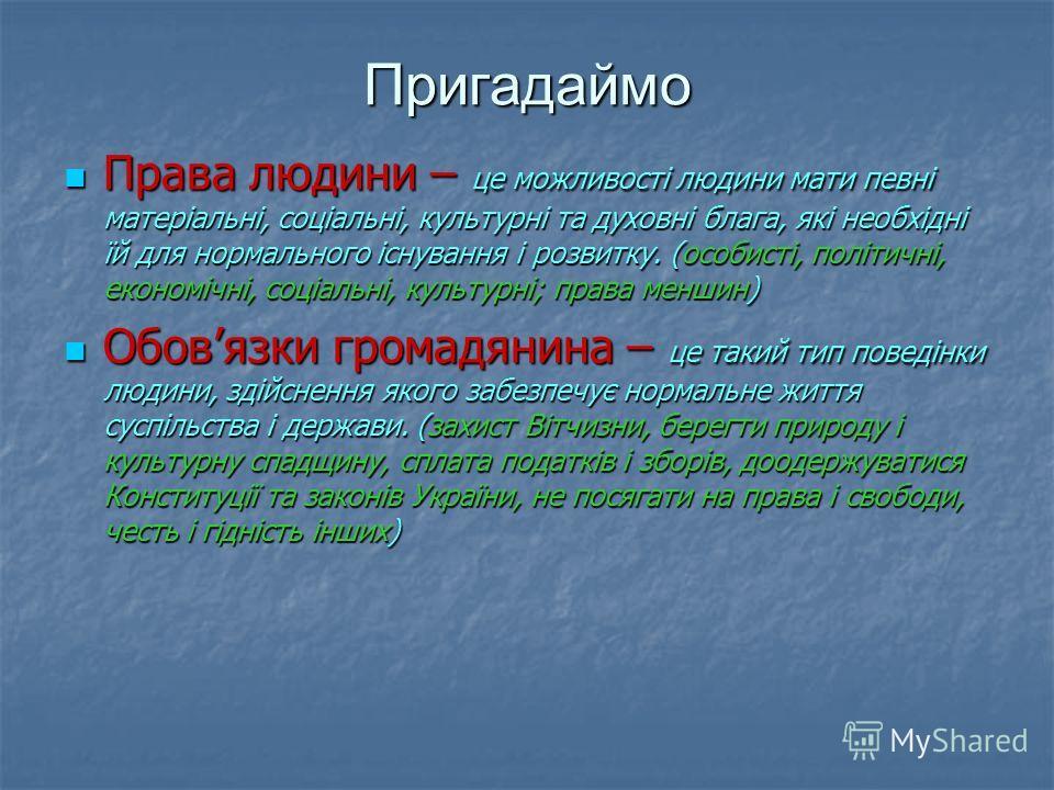 Після цього заняття ви зможете Пояснювати, що для вас означають права та свободи людини і громадянина, як можна їх захистити в Україні; Визначати різні види прав людини; Оцінювати результати власної та групової діяльності, приймати рішення стосовно з