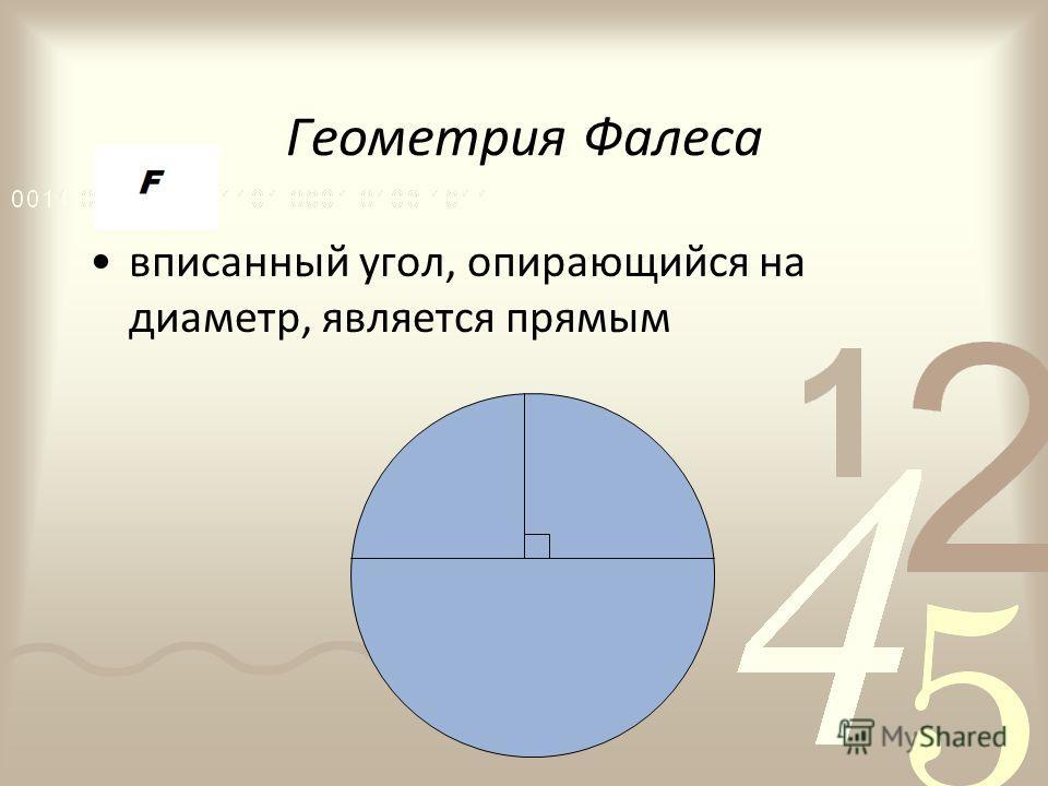 Геометрия Фалеса вписанный угол, опирающийся на диаметр, является прямым