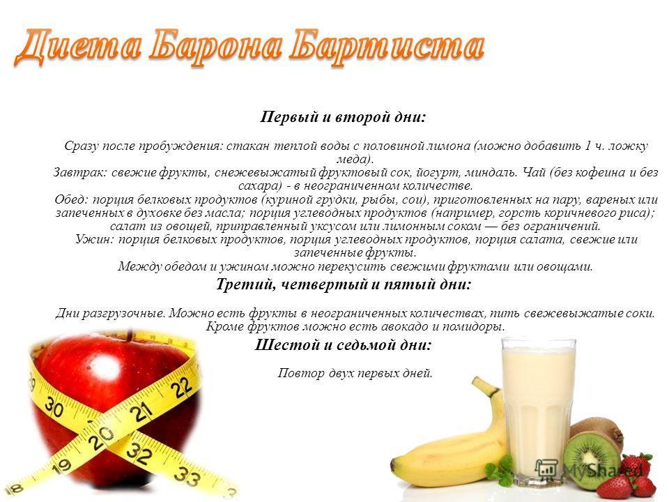 Первый и второй дни: Сразу после пробуждения: стакан теплой воды с половиной лимона (можно добавить 1 ч. ложку меда). Завтрак: свежие фрукты, снежевыжатый фруктовый сок, йогурт, миндаль. Чай (без кофеина и без сахара) - в неограниченном количестве. О