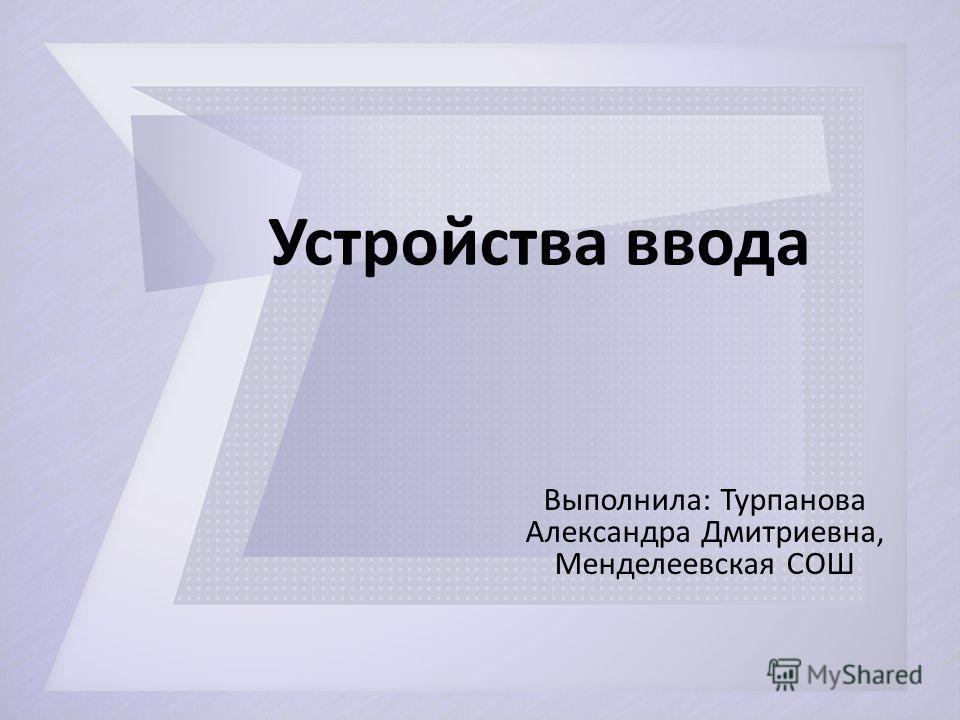 Устройства ввода Выполнила: Турпанова Александра Дмитриевна, Менделеевская СОШ