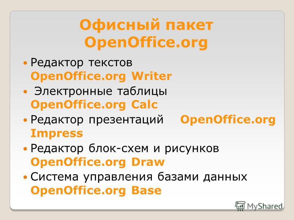 Офисный пакет OpenOffice.org Редактор текстов OpenOffice.org Writer Электронные таблицы OpenOffice.org Calc Редактор презентаций OpenOffice.org Impress Редактор блок-схем и рисунков OpenOffice.org Draw Система управления базами данных OpenOffice.org