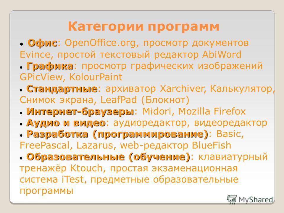 Категории программ Офис Офис: OpenOffice.org, просмотр документов Evince, простой текстовый редактор AbiWord Графика Графика: просмотр графических изображений GPicView, KolourPaint Стандартные Стандартные: архиватор Xarchiver, Калькулятор, Снимок экр