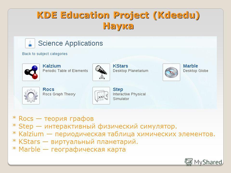 KDE Education Project (Kdeedu) Наука * Rocs теория графов * Step интерактивный физический симулятор. * Kalzium периодическая таблица химических элементов. * KStars виртуальный планетарий. * Marble географическая карта