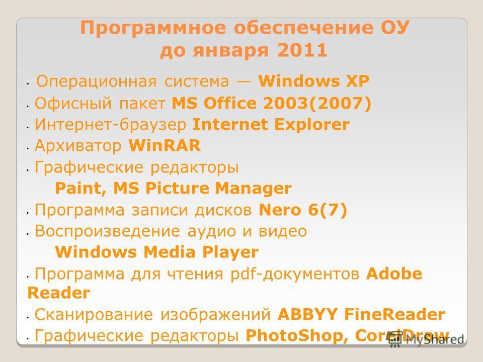 Программное обеспечение ОУ до января 2011 Операционная система Windows XP Офисный пакет MS Office 2003(2007) Интернет-браузер Internet Explorer Архиватор WinRAR Графические редакторы Paint, MS Picture Manager Программа записи дисков Nero 6(7) Воспрои
