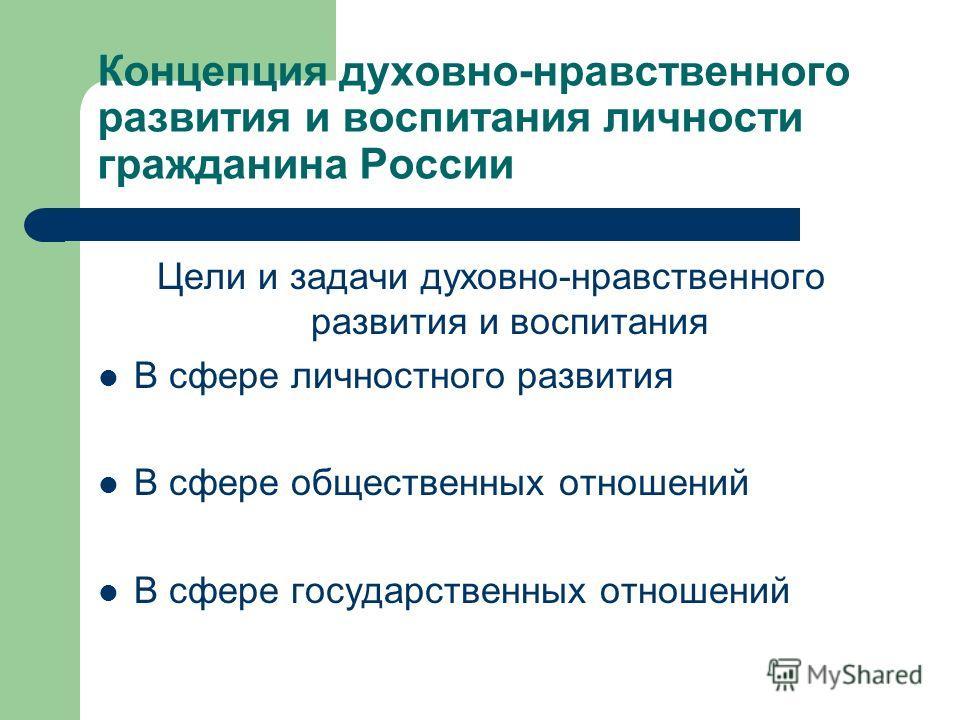 Концепция духовно-нравственного развития и воспитания личности гражданина России Цели и задачи духовно-нравственного развития и воспитания В сфере личностного развития В сфере общественных отношений В сфере государственных отношений