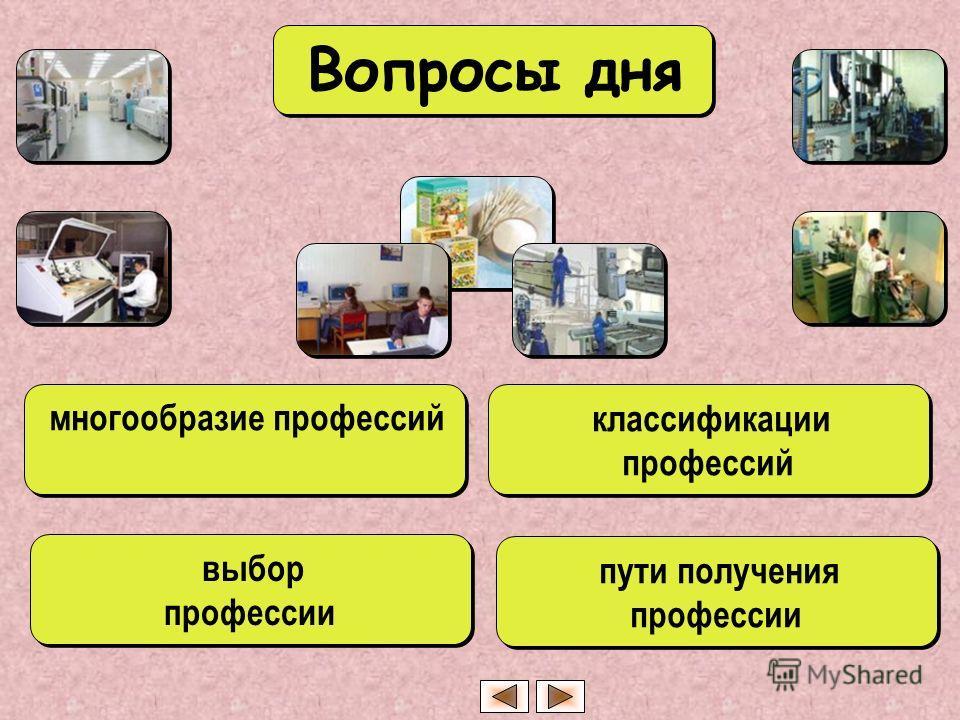 многообразие профессий выбор профессии выбор профессии классификации профессий пути получения профессии Вопросы дня