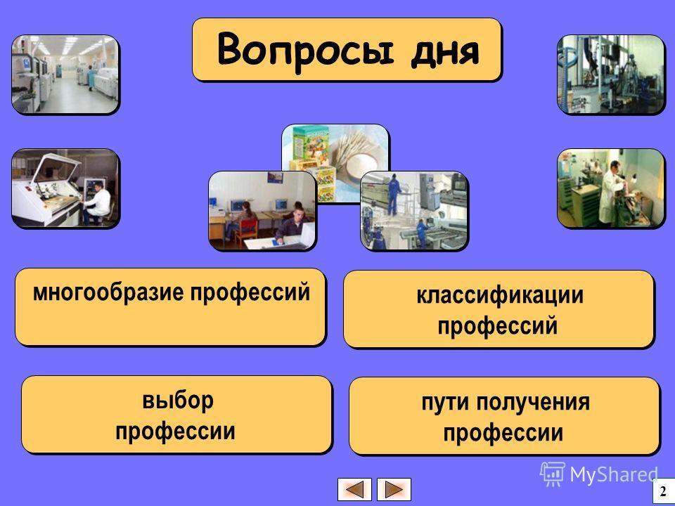 многообразие профессий 2 выбор профессии выбор профессии классификации профессий пути получения профессии Вопросы дня