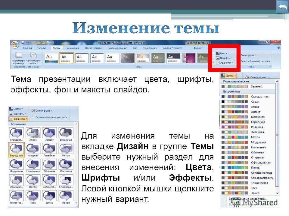 Тема презентации включает цвета, шрифты, эффекты, фон и макеты слайдов. Для изменения темы на вкладке Дизайн в группе Темы выберите нужный раздел для внесения изменений: Цвета, Шрифты и/или Эффекты. Левой кнопкой мышки щелкните нужный вариант.