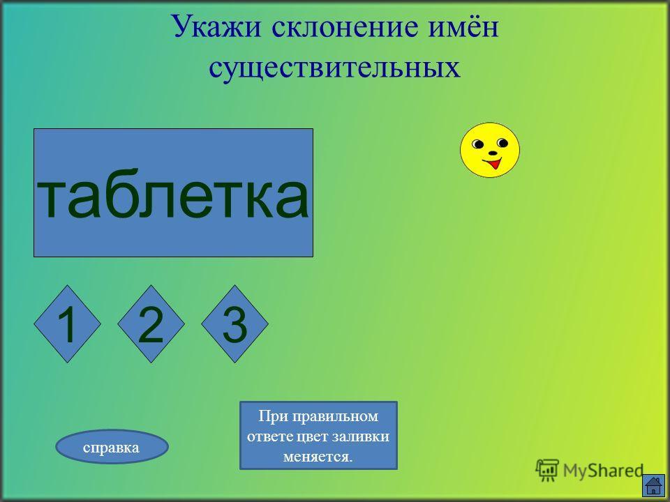 зверь Укажи склонение имён существительных 123 справка При правильном ответе цвет заливки меняется.