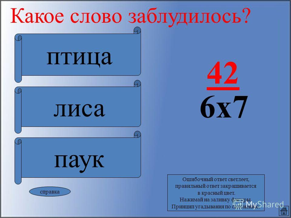 справка Ошибочный ответ светлеет, правильный ответ закрашивается в красный цвет. Нажимай на заливку фигуры. Принцип угадывания по склонению. Какое слово заблудилось?