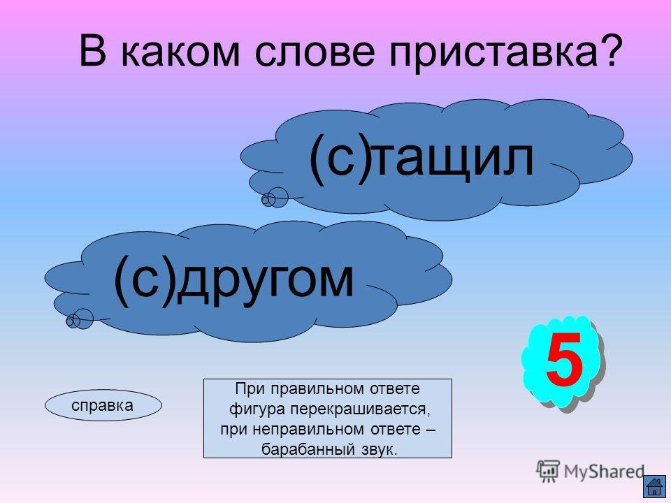 Правописание приставок справка При правильном ответе фигура перекрашивается, при неправильном ответе – барабанный звук.