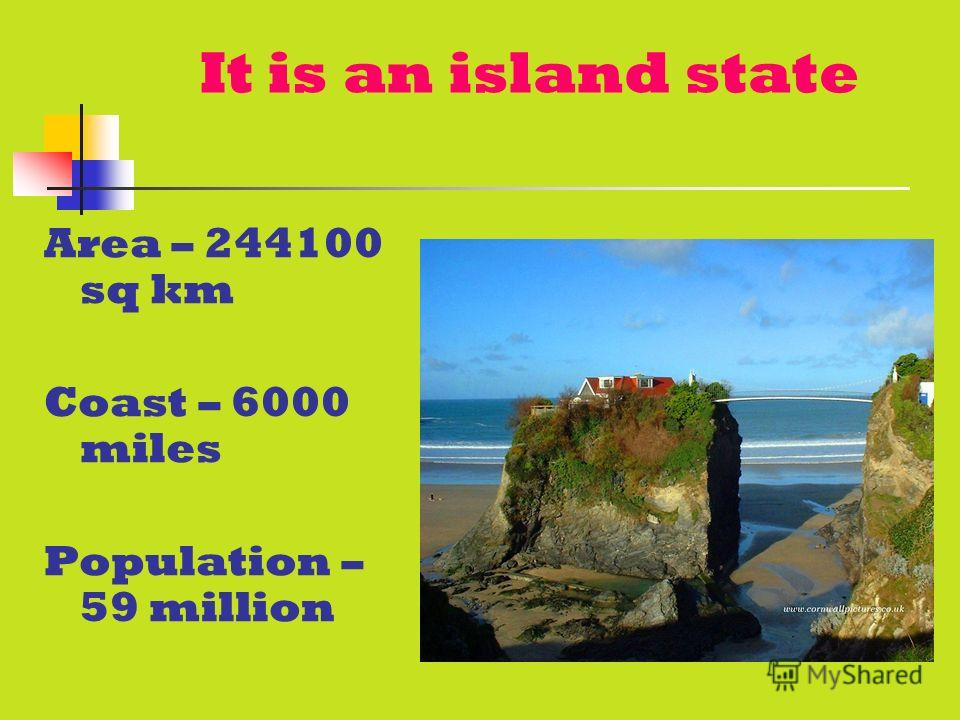 It is an island state Area – 244100 sq km Coast – 6000 miles Population – 59 million