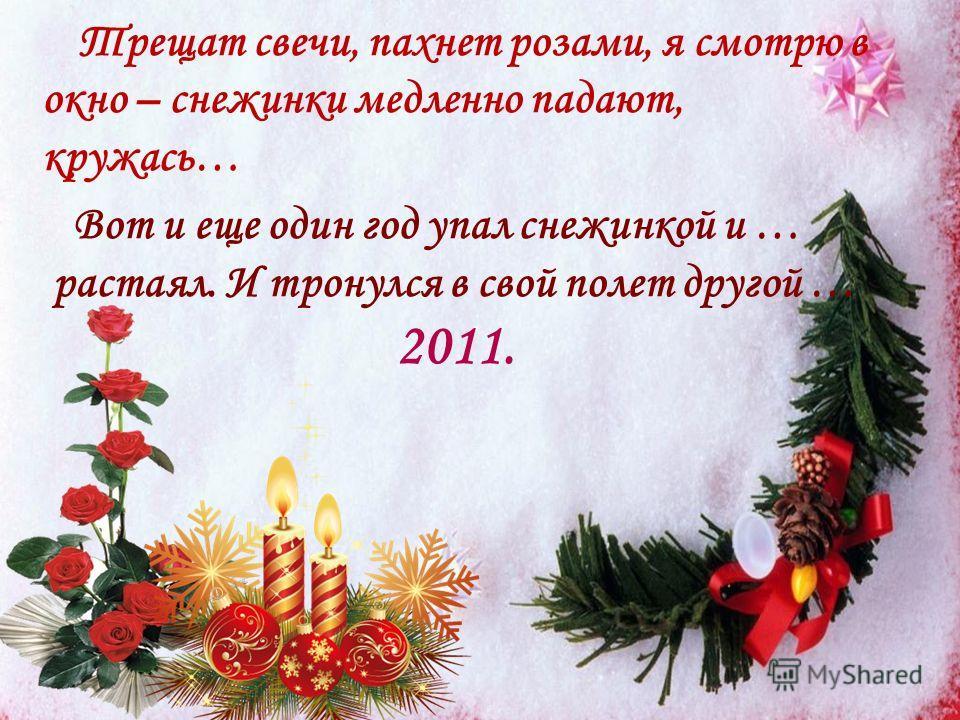 Трещат свечи, пахнет розами, я смотрю в окно – снежинки медленно падают, кружась… Вот и еще один год упал снежинкой и … растаял. И тронулся в свой полет другой … 2011.