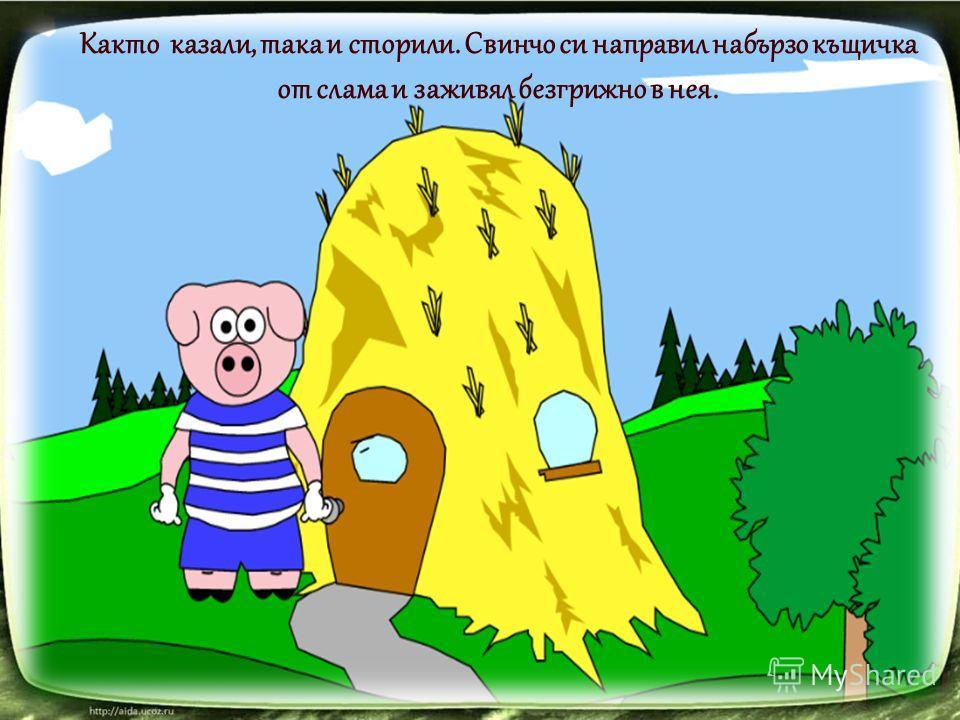 Както казали, така и сторили. Свинчо си направил набързо къщичка от слама и заживял безгрижно в нея.