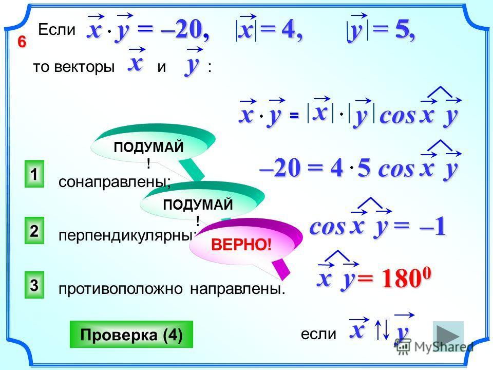 ПОДУМАЙ ! 3 2 1 Проверка (4) xy = 180 0 еслиxy Еслиxy = –20,= –20,= –20,= –20, x = 4,x = 4,x = 4,x = 4, y = 5, то векторы и :xy сонаправлены; противоположно направлены. перпендикулярны; 45–20 xy = x ycos xy cos = xy –20 = 4 5 cos xy ВЕРНО! –1–1–1–1 6