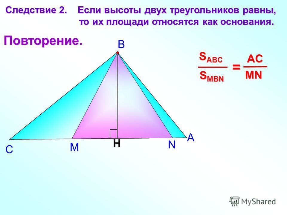 М N А В С Следствие 2. Если высоты двух треугольников равны, то их площади относятся как основания. то их площади относятся как основания. H S MBN S ABC = MN AC Повторение.