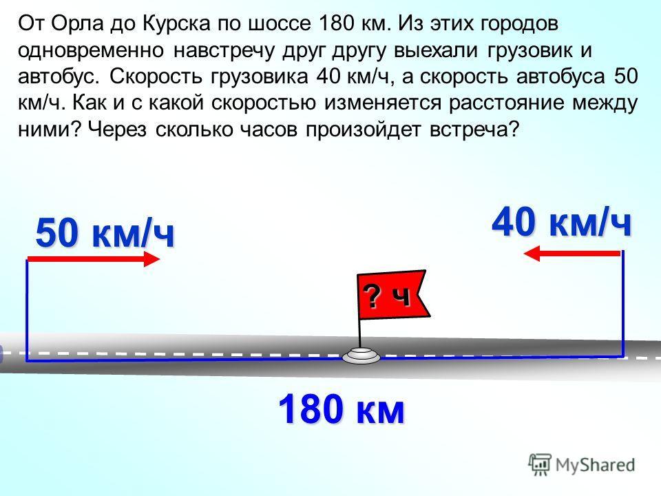 От Орла до Курска по шоссе 180 км. Из этих городов одновременно навстречу друг другу выехали грузовик и автобус. Скорость грузовика 40 км/ч, а скорость автобуса 50 км/ч. Как и с какой скоростью изменяется расстояние между ними? Через сколько часов пр