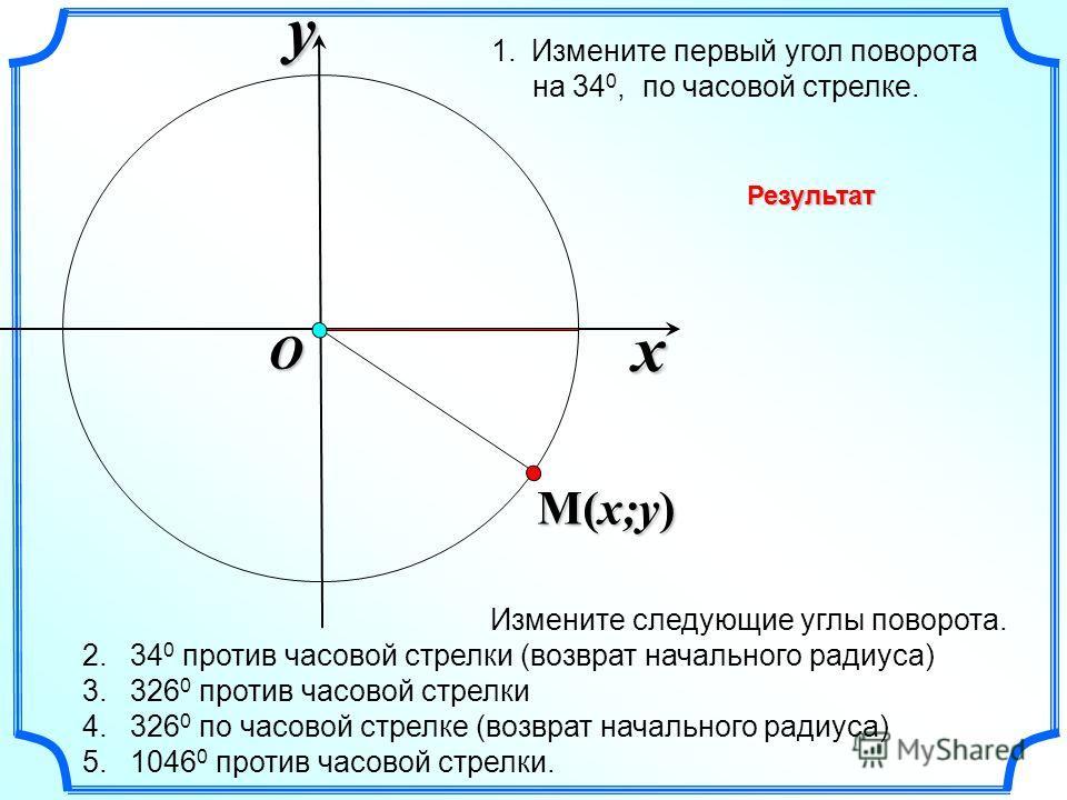 x y O Измените следующие углы поворота. 2. 34 0 против часовой стрелки (возврат начального радиуса) 3. 326 0 против часовой стрелки 4. 326 0 по часовой стрелке (возврат начального радиуса) 5. 1046 0 против часовой стрелки. M(x;y) 1.Измените первый уг