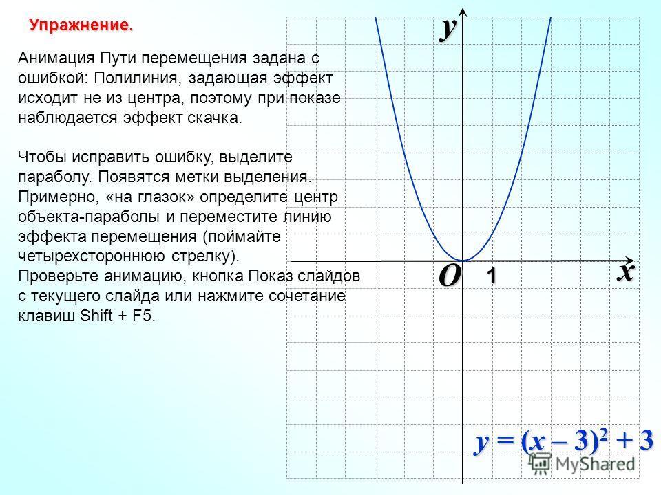 O xy1 Анимация Пути перемещения задана с ошибкой: Полилиния, задающая эффект исходит не из центра, поэтому при показе наблюдается эффект скачка. Чтобы исправить ошибку, выделите параболу. Появятся метки выделения. Примерно, «на глазок» определите цен