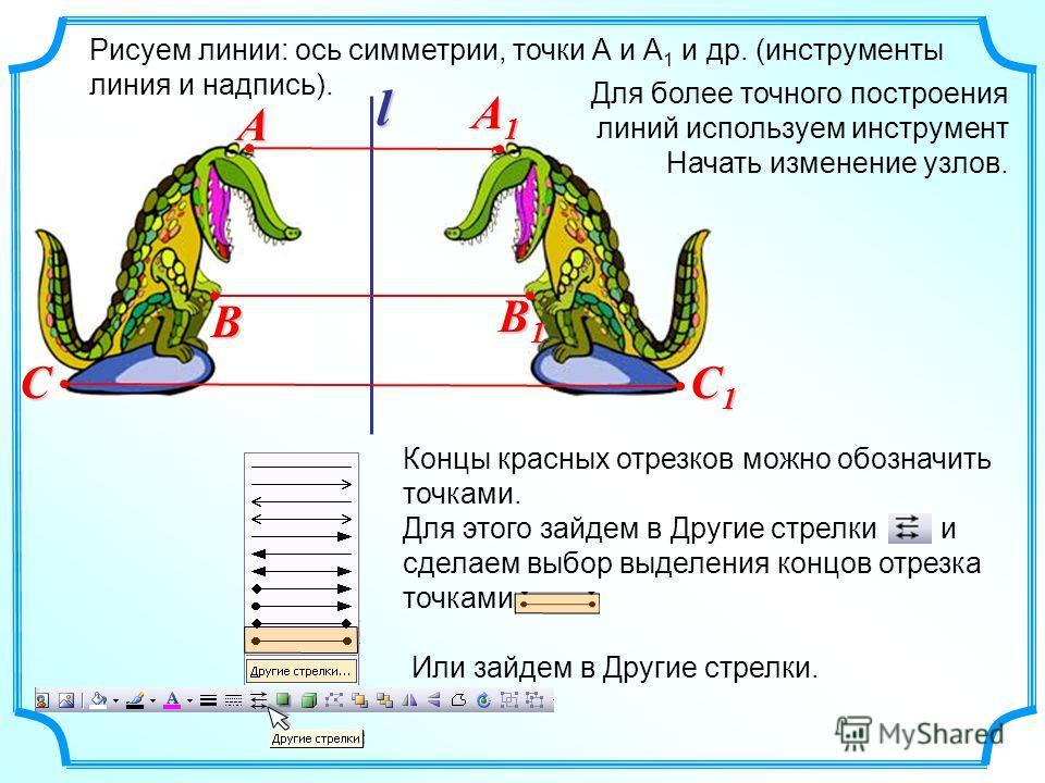 Для более точного построения линий используем инструмент Начать изменение узлов. Рисуем линии: ось симметрии, точки А и А 1 и др. (инструменты линия и надпись). l A A1A1A1A1 B B1B1B1B1 C C1C1C1C1 Или зайдем в Другие стрелки. Концы красных отрезков мо