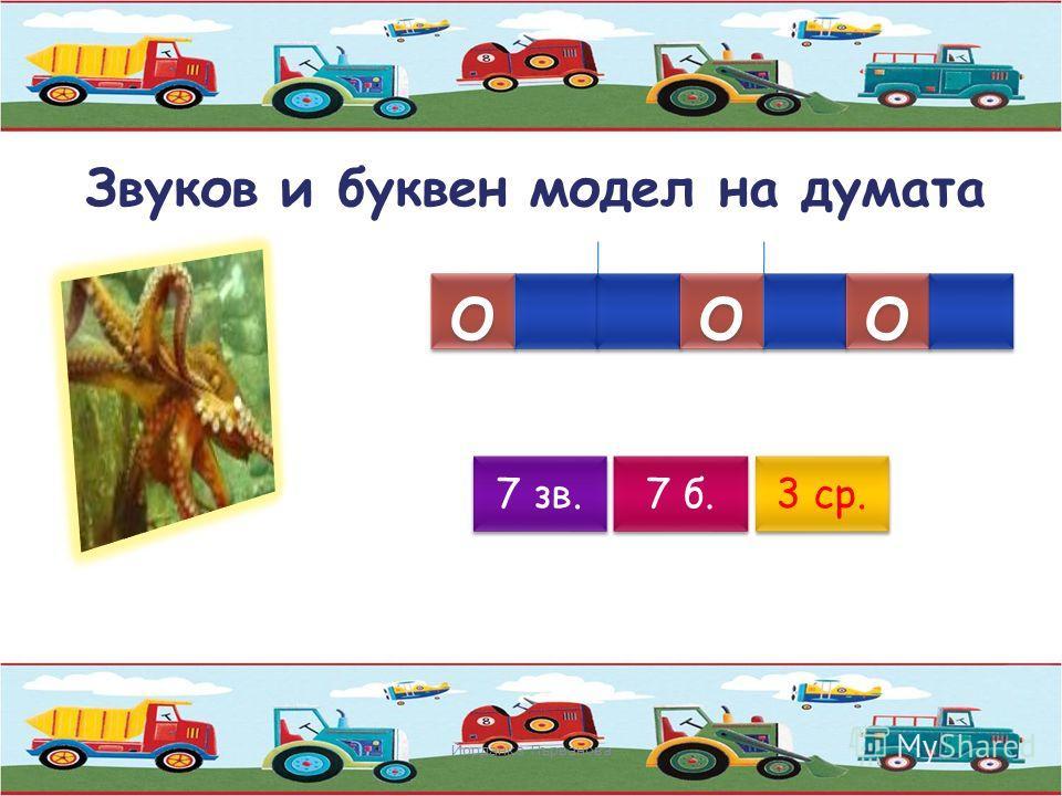 Звуков и буквен модел на думата Йорданка Първанова о о о о 6 зв. 6 б. 3 ср.