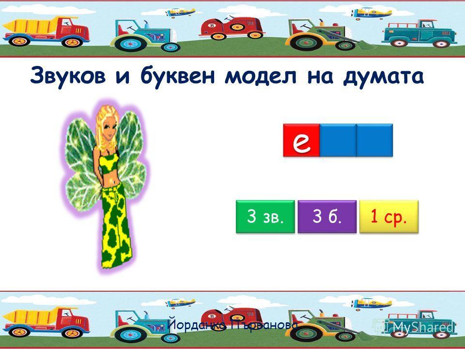Звуков и буквен модел на думата Йорданка Първанова 4 зв. 4 б. 2 ср. е е о о