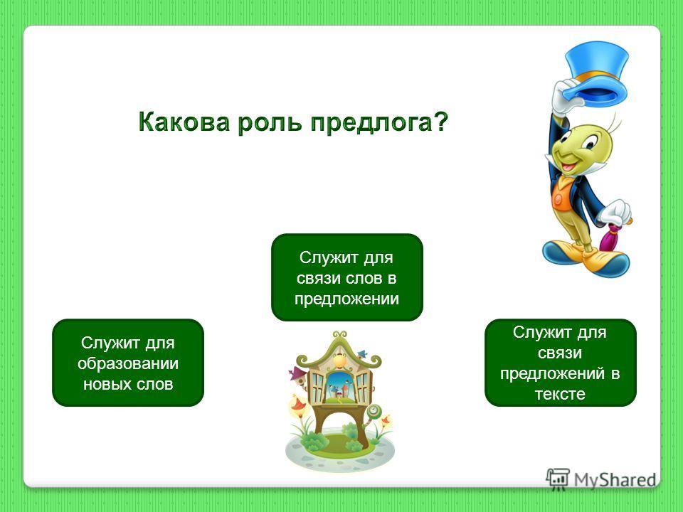 Служит для связи слов в предложении Служит для образовании новых слов Служит для связи предложений в тексте
