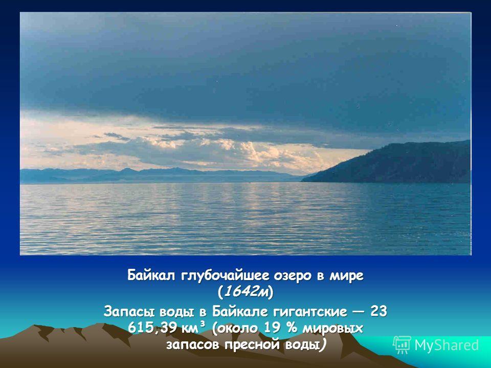 Байкал глубочайшее озеро в мире (1642м) Запасы воды в Байкале гигантские 23 615,39 км³ (около 19 % мировых запасов пресной воды Запасы воды в Байкале гигантские 23 615,39 км³ (около 19 % мировых запасов пресной воды)