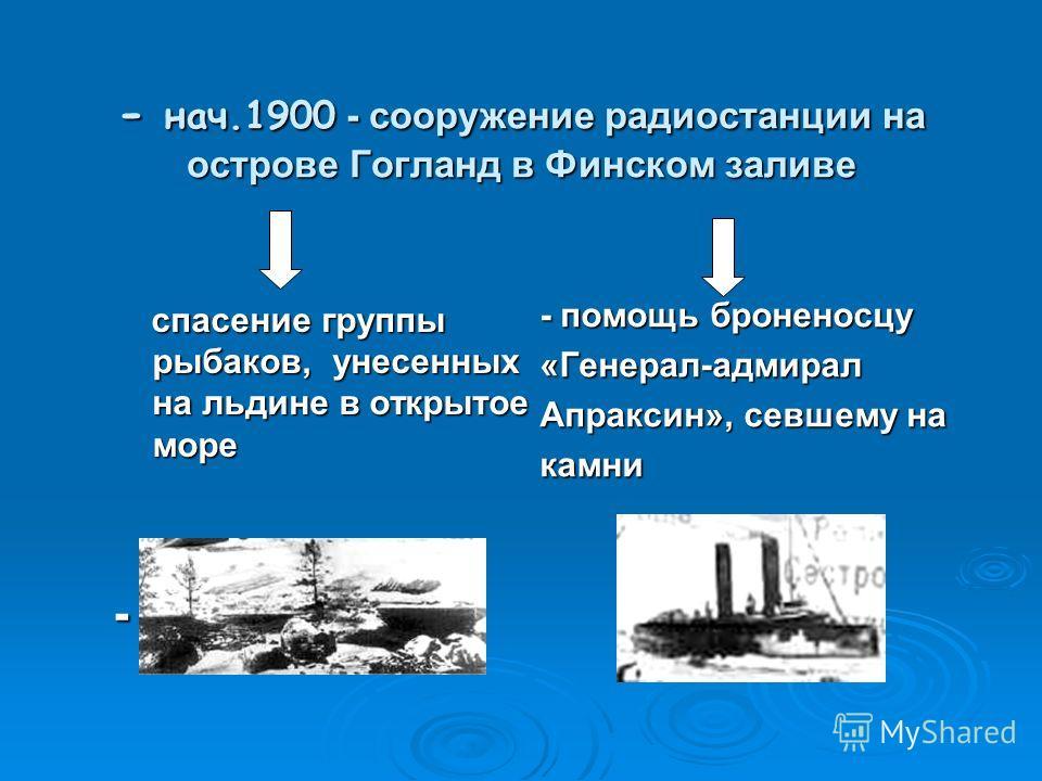 - 24 марта 1896 – осуществлена радиосвязь (250м.) и передана радиосвязь (250м.) и передана первая радиограмма : «Генрих Герц» - нач. 1897 – проведена радиосвязь между кронштадтским берегом и кораблем(640м) - лето 1897 – установлена связь на расстояни