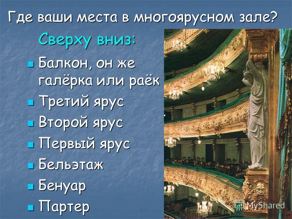 Где ваши места в многоярусном зале? Где ваши места в многоярусном зале? Сверху вниз: Сверху вниз: Балкон, он же галёрка или раёк Балкон, он же галёрка или раёк Третий ярус Третий ярус Второй ярус Второй ярус Первый ярус Первый ярус Бельэтаж Бельэтаж