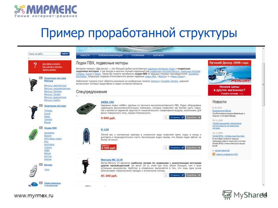 www.myrmex.ru Пример проработанной структуры 14