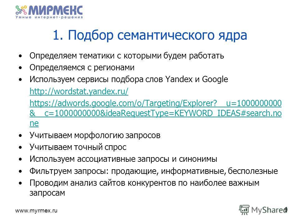 www.myrmex.ru 1. Подбор семантического ядра Определяем тематики с которыми будем работать Определяемся с регионами Используем сервисы подбора слов Yandex и Google http://wordstat.yandex.ru/ https://adwords.google.com/o/Targeting/Explorer?__u=10000000