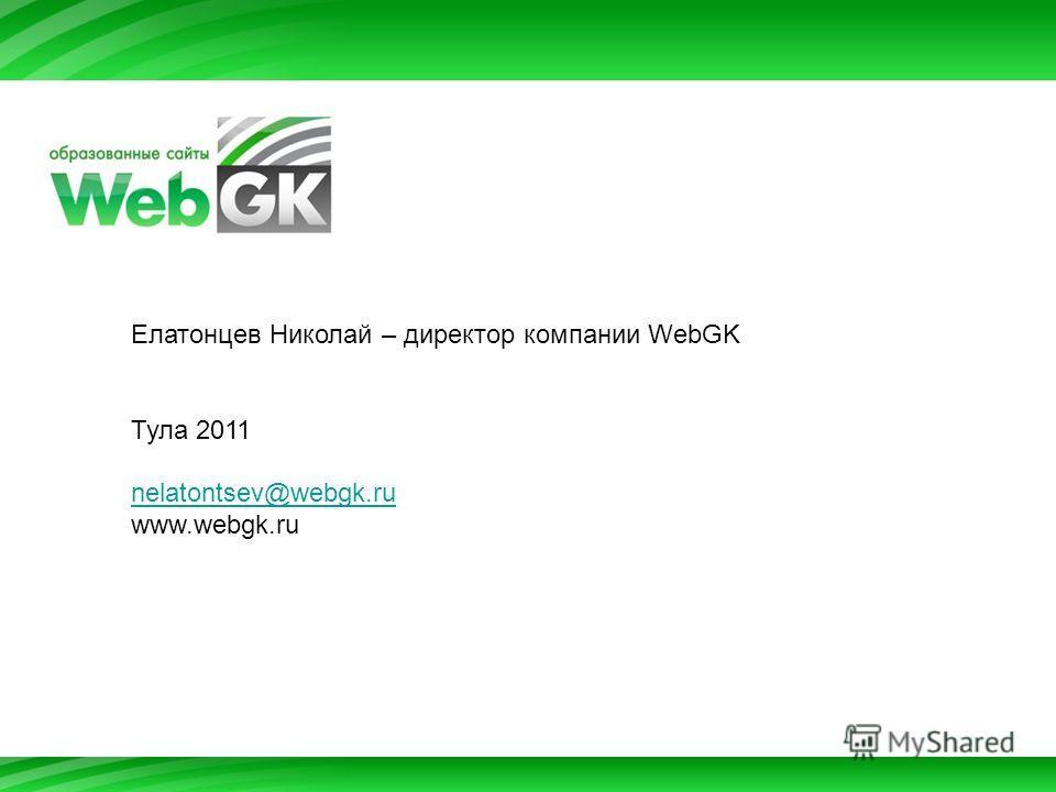 Елатонцев Николай – директор компании WebGK Тула 2011 nelatontsev@webgk.ru www.webgk.ru