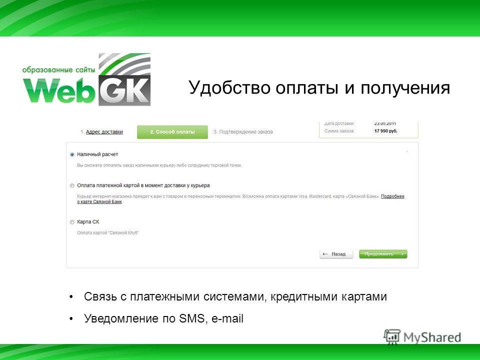 Удобство оплаты и получения Связь с платежными системами, кредитными картами Уведомление по SMS, e-mail