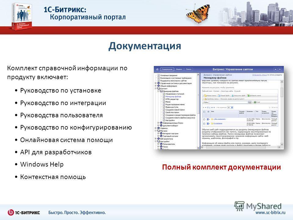 Документация Руководство по установке Руководство по интеграции Руководства пользователя Руководство по конфигурированию Онлайновая система помощи API для разработчиков Windows Help Контекстная помощь Полный комплект документации Комплект справочной